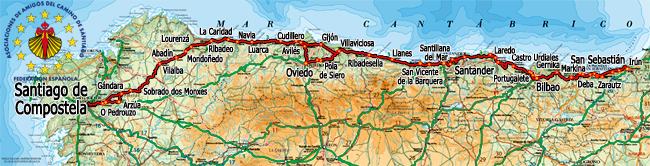 Mapa Norte España Costa.El Camino De Santiago Caminos A Santiago Camino Del Norte